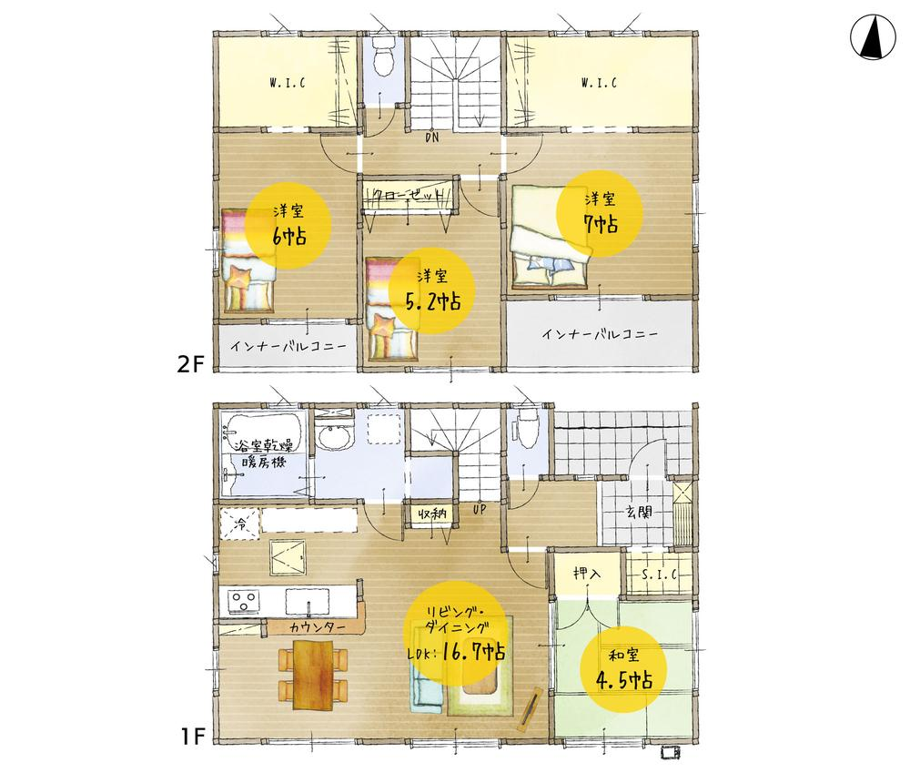 間取(1号棟)、価格2300万円、4LDK、土地面積234.79m2、建物面積105.17m2