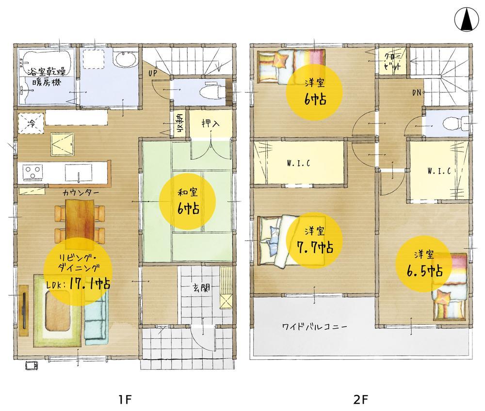 間取(1号棟)、価格2580万円、4LDK、土地面積165.86m2、建物面積107.65m2