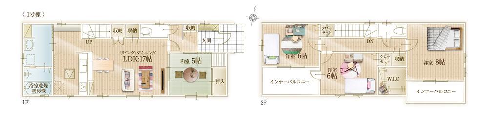 間取(1号棟)、価格2680万円、4LDK、土地面積201m2、建物面積106.68m2