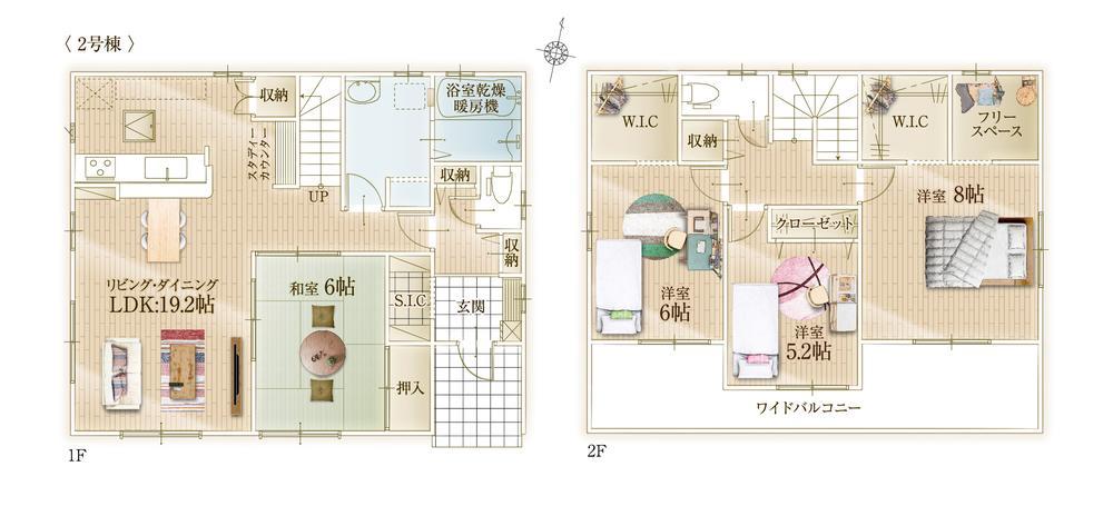 間取(2号棟)、価格2880万円、4LDK、土地面積174m2、建物面積115.1m2