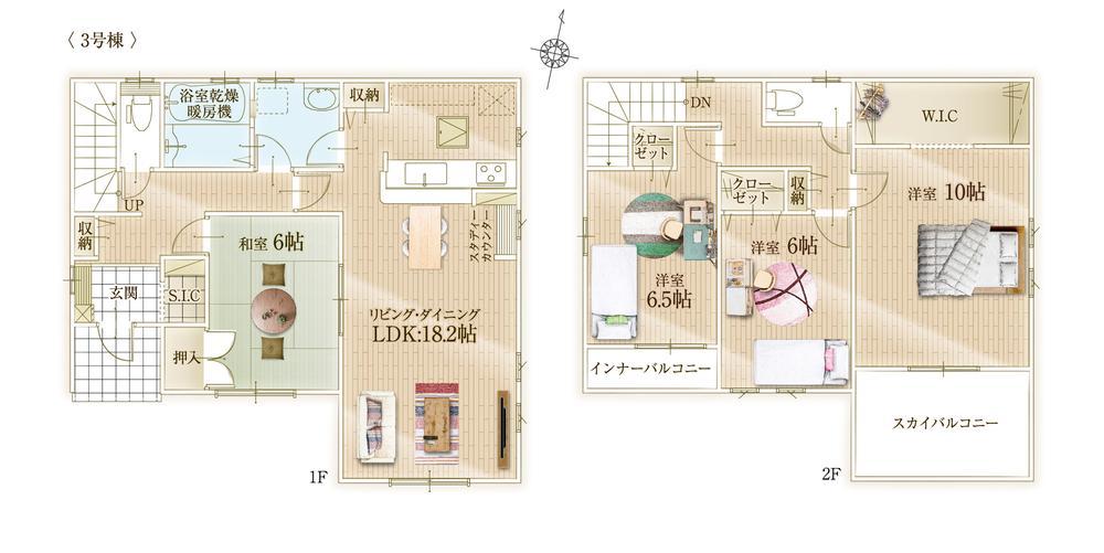 間取(3号棟)、価格2980万円、4LDK、土地面積174m2、建物面積115.92m2