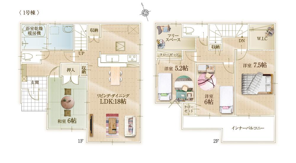 間取(1号棟)、価格2680万円、4LDK+S、土地面積194.6m2、建物面積108.47m2