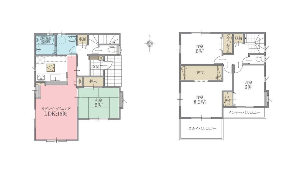 間取(1号棟)、価格2650万円、4LDK、土地面積213.35m2、建物面積106.19m2
