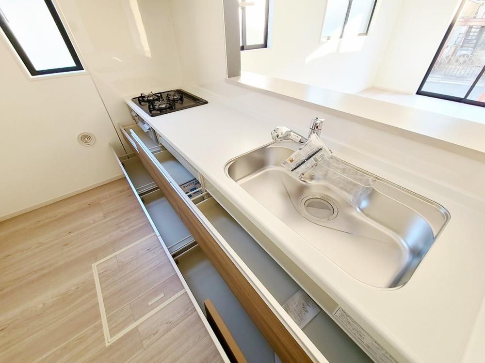 キッチン*キッチン|全スライド式収納キッチン♪お皿や鍋の出し入れもラクラク☆(2021年3月撮影)