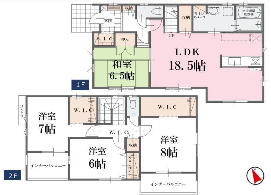 間取(1号棟)、価格2598万円、4LDK、土地面積220.24m2、建物面積115.83m2