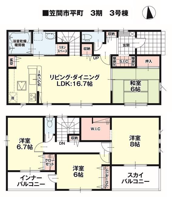 間取(3号棟)、価格2680万円、4LDK、土地面積183.73m2、建物面積109.3m2