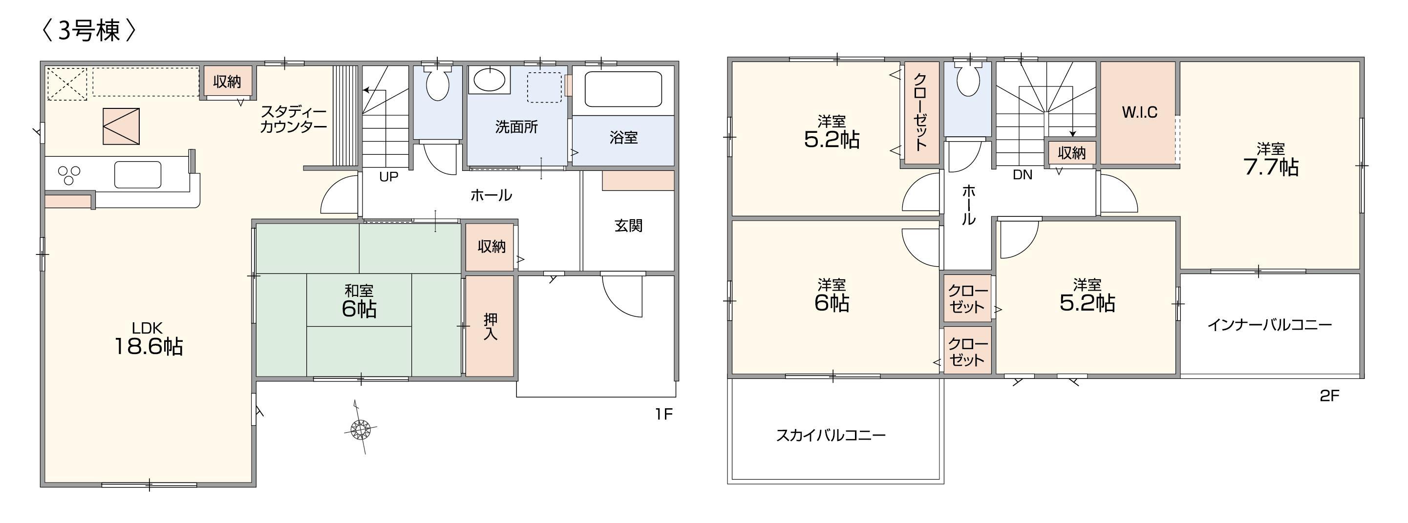 3号棟|水回り集中設計で家事効率UP♪余裕のある5LDKの間取りを採用×全居室収納スペースあり◎