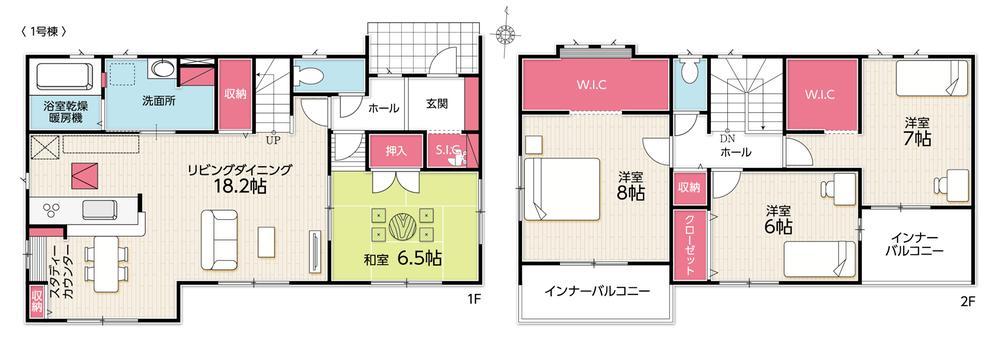 間取(1号棟)、価格2680万円、4LDK、土地面積258.27m2、建物面積121.72m2