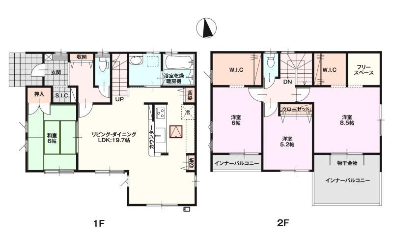 3450万円、4LDK+S(納戸)、土地面積197.6m2、建物面積115.1m2 全室南向き☆アイランド風のキッチンで家事導線がより良くなってます☆
