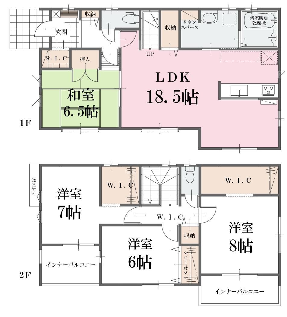間取(1号棟)、価格2490万円、4LDK、土地面積220.24m2、建物面積115.83m2