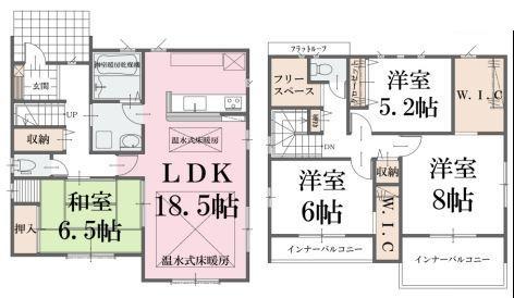間取(1号棟)、価格2680万円、4LDK+S、土地面積179m2、建物面積114.68m2