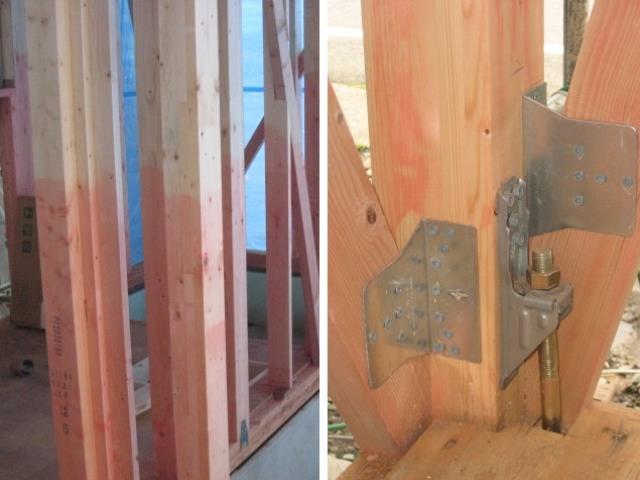 構造・工法・仕様(【高強度集成材】)木材を接着剤で再構成して作られ、反りやねじれが少なくまたムク材に比べ約1.5倍の強度があります。