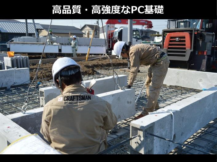 構造・工法・仕様(PC基礎)PC基礎=プレキャスト・コンクリート基礎。現場ではなく温度、湿度等の管理された工場で生産されるため、安定した品質が得られ、現場での作業負担を軽減できる工法。現場での作業時間も少なくなるため、騒音や産業廃棄物を低減します。見た目もキレイで耐久性にも優れています。